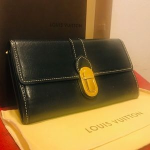 LOUIS VUITTON Suhali Black with Gold Wallet Purse